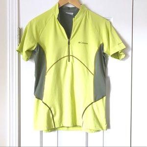 Columbia green gray biker athletic top